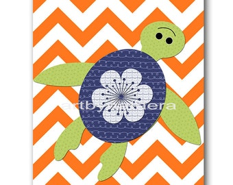 Gray and orange Baby Room Decor Baby Boy Nursery Art Decor Baby Nursery Decor Kids Wall Art Kids Art Turtle nursery Baby Boy Print