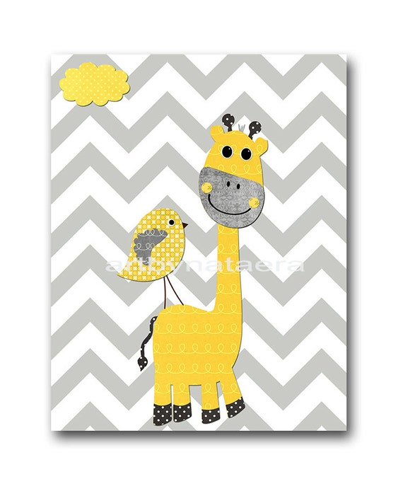 Girafe jaune et gris p pini re wall art b b chambre decor for Chambre bebe jaune gris