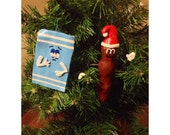Handmade South Park Towelie and Mr. Hankey characters original one of a kind clay Christmas holiday ornaments