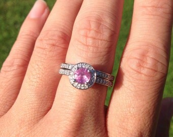 ONLY One Available 18K White Gold Diamond and Pink Sapphire Bridal Set
