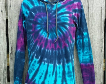 Women's Purple Turquoise and Dark Blue Tie Dye Tshirt Hoodie, S M L XL 2XL, Long Sleeve Tshirt with Hood, Hippie Hoodie, Womens Tie Dye