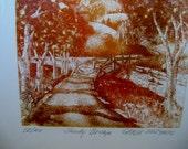 "Vintage Limited Edition Etching ""Shady Bridge"" by Garee Soszynski Very Good Rare  Estate find"
