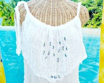 Peacock Tank Top Beaded Cotton Spa Pool Ivory Cover Up Womens Fashion