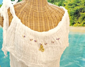 Mermaid Tank Top Goddess Beaded White Cotton Spa Pool Cover Up Womens Beachcomber