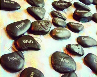 """RESERVED double sided engraved Dark Pebbles aprx. 2""""  Personalized Etched pebble"""
