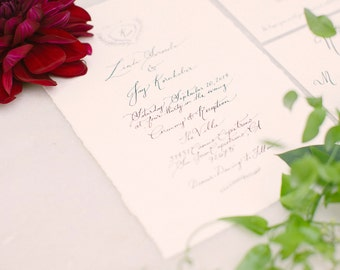 Hand Torn Calligraphy Invitation