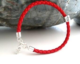 Kabbalah bracelet , red string leather silver hamsa evil eye bracelet , aleph lamed dalet silver amulet , god name bracelet , artisan