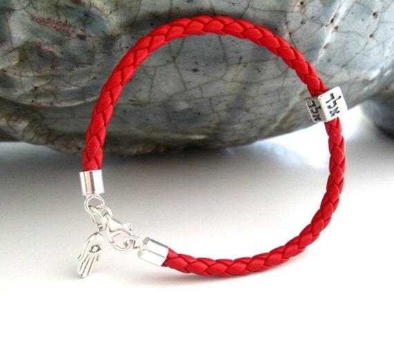 Kabbalah Bracelet Red String Leather Silver Hamsa Evil Eye