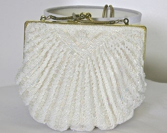 Vintage White Ivory Purse, New Year's Eve Purse, Wedding Purse