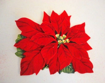 Vintage Flocked Gift Tags- Christmas gift tags- SET of 12- NOS tags- Flocked Poinsettia - 1950s- Double layer Cutout tag