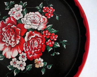 Vintage Round Metal Tray Black Red Floral 1950s Shabby Chic French country from metrocottage