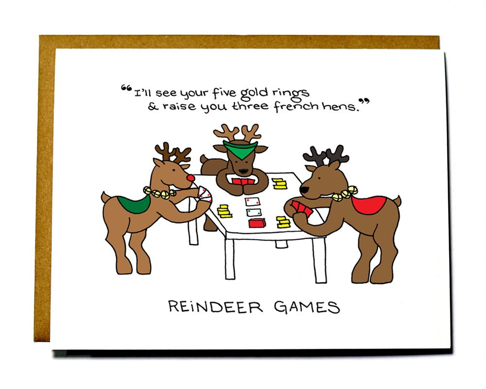 Funny reindeer games christmas card for Funny reindeer christmas cards