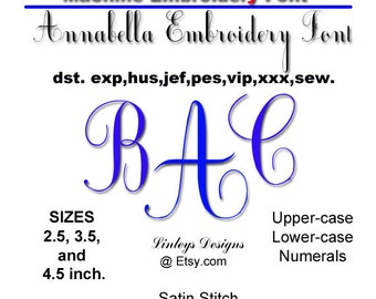 Download Machine Embroidery Alphabet: Annabelle Font.