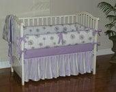 Custom made girl baby bedding, Lilac and Gray, Dandelion, Stripe,  2-4pc Crib  Bedding Set.