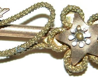 Gold Star Brooch Victorian Gold Gilt Enamel Bar Pin BarPin Brooch Lapel Pin