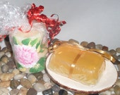 Vitamin E spa soap; Honey Almond scented gift soap;  Yellow moisturizing glycerin soap; stocking stuffer