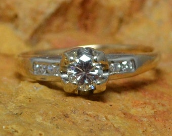 14K Gold Antique Diamond Engagement Ring // White & Yellow Gold Tulip Bulb Solitaire Diamond with Four Accent Diamonds = Almost Half Ct TCW