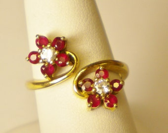 14 karat gold floral ruby and diamond ring R207
