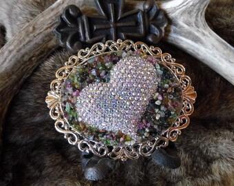 Western cowgirl rhinestone heart and multi tourmaline embllished scroll style belt buckle #CL10