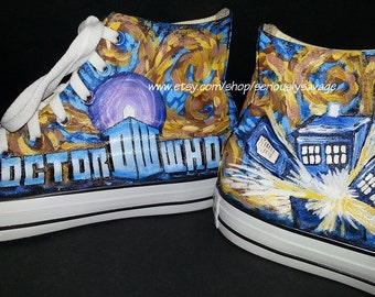 Dr. Who Van Gogh Starry Night Tardis Doctor Who Logo Custom Painted Shoes Converse Kicks