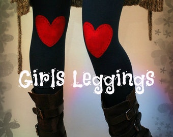 Girls red heart hand PAINTED leggings