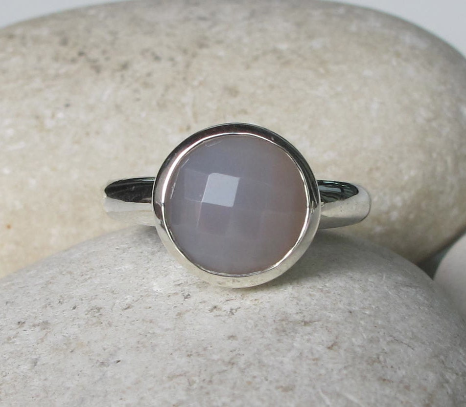 gray gemstone ring grey stacking ring simple sterling