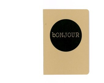 Bonjour journal - French hello - good day homemade notebook - kraftpaper cover