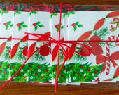 Christmas Gift Tags, Image from 1950s Holiday Tablecloth, Green and Red, Tied with Thread, Package of 12