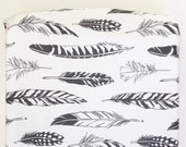 Black Feather Changing Pad Cover