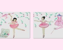 Ballet Ballerinas Wall Art for Baby Girl Nursery or Girls room Decor, SET OF 2
