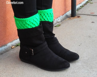 Crochet Boot Cuffs, Boot Toppers, Leg Warmers, Leg Cuffs, Boot Sleeve, Ribbed, X-stitch, MADE TO ORDER, You Choose Color & Edging, 70 Colors