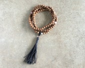 Indian Bodhi Seed Mala with Rose Quartz & Dark Grey Tassel