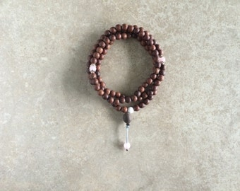 Indian Rosewood Mala with Rose Quartz & Indian Lotus Seed