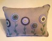 Felt and Wool Penny Rug Flower Pillow, Throw Pillow, Primitive Decor, Decorative Pillow,  Appliqued Pillow, FAAP, OFG, Spring Decor, COSOFG
