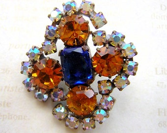 Vintage Large Czech Glass Rhinestone Button - Beautiful Old Rhinestone Button in Topaz and Blue