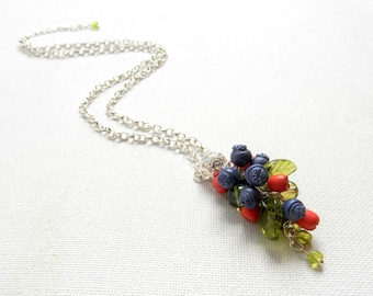 Berries, Berry Jewelry, Blue Pendant, Handmade Jewelry, Blueberries, Blue Jewelry, Spring Jewelry, Gift for Her, Minimal Jewelry, Handmade