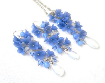 Blue jewelry, Moon stone,  Blue Pendant, Blue Earrings, Flower Jewelry, Spring Jewelry, Gift For Her, Floral Fashion, Romantic Jewelry