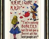 Alice in Wonderland  BONKERS Quote vintage book page print on a page from a late 1800s Dictionary
