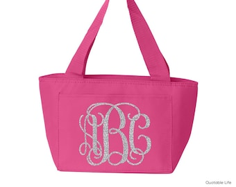 Monogram Insulated Lunch Cooler Tote // Solid or Glitter Vinyl