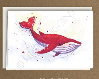 Whale Nautical Hearts - Blank Inside - Valentine's / Anniversary / Love