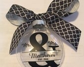 Monogrammed Wedding Ornament, Mr and Mrs Personalized Ornament, Established In Christmas Ornament