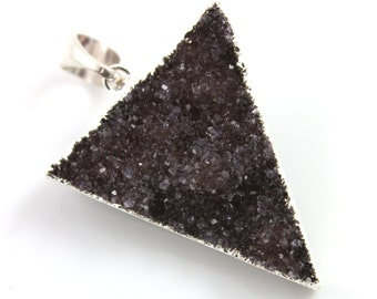Dazzling Druzy Triangle Pendant in Stunning Earth Tones, Silver Plated, 30x34mm, A+ Gorgeous Quality, Electroplated Edge (SS-DZY/TRI/129)
