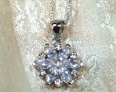 Crystal Snowflake Flower Necklace in Sterling Silver