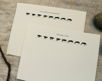Cow Notecards with Envelopes | Personalized Note Cards Handmade | Rustic Christmas Gifts | Gift for Men | Coworker Gift | Stocking Stuffer