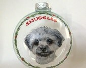 Dog ornament, Yorkie, Pet Loss Memorial, Christmas Ornament, Personalized Pet, Handpainted Glass, Animal Art, Holiday Decor, Painted Dog