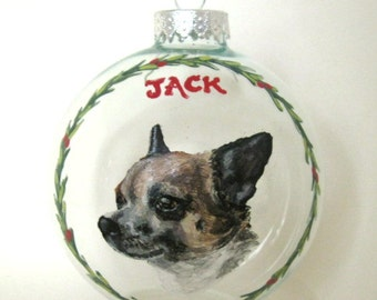 Pet Loss Memorial, Christmas Ornament, Chihuahua, Pet Ornament, Handpainted Glass Ball, Holiday Decor, Animal Art, Tree Decoration