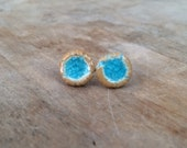 Blue Ceramic and Glass Earrings