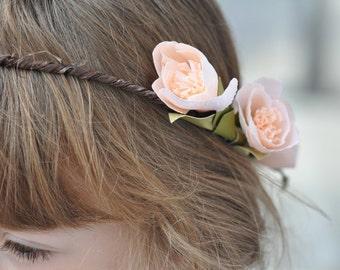 Paper flower hair wreath flower crown flower girl hair paper flower crown