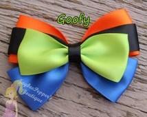 Goofy hair bows disney inspired hair clip girls blue orange lime dog ears