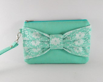 SUPER SALE - Mint Lace Bow Clutch - Bridal Clutches, Bridesmaid Wristlet, Wedding Gift, Cosmetic Bag, Zipper Pouch - Made To Order
